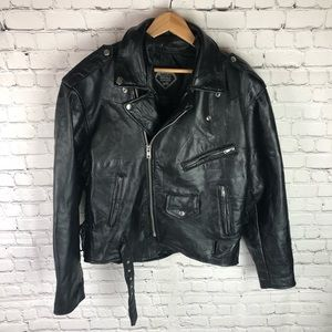 Vintage Men's Small Buffalo Leather Moto Jacket
